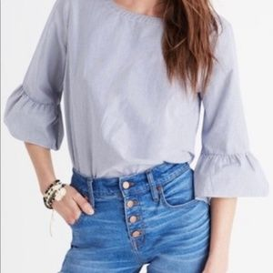 Madewell Blue Striped 3/4 Bell Sleeve Blouse